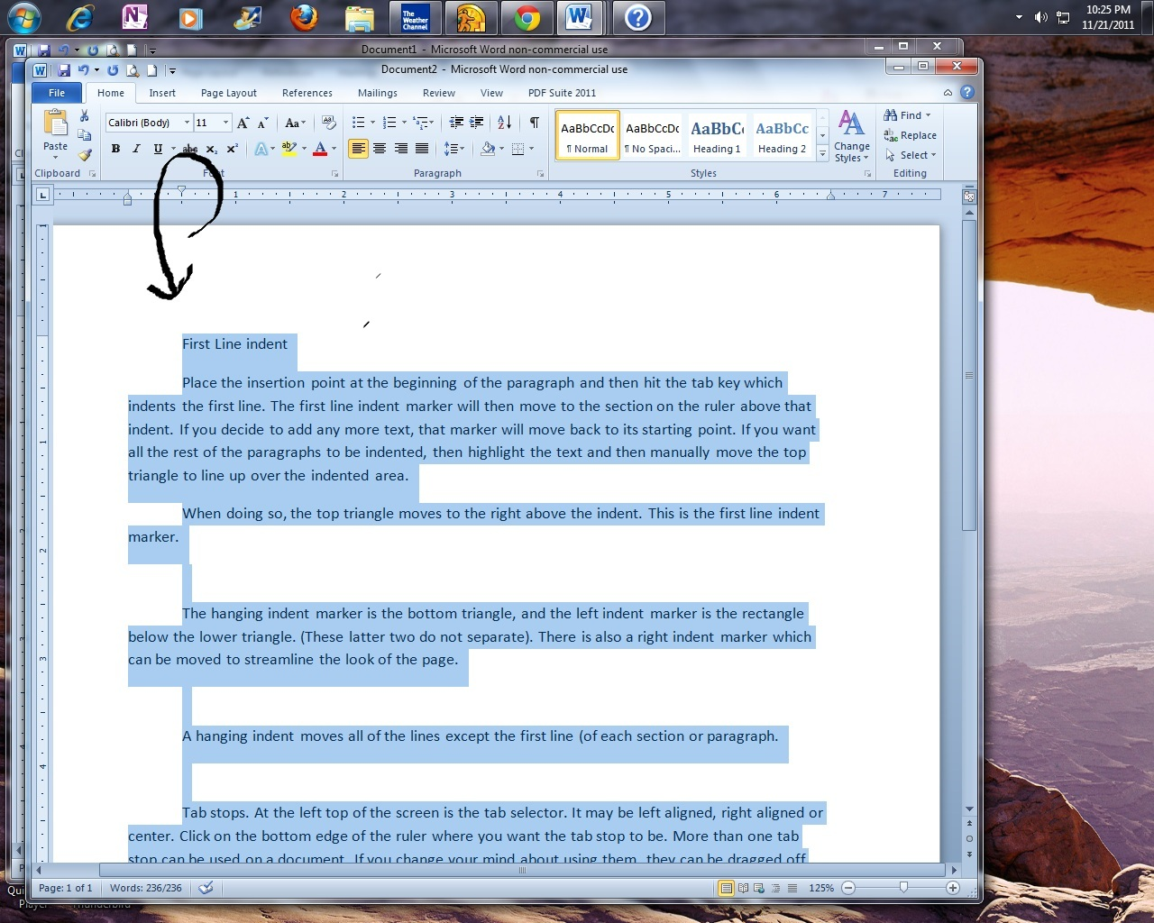 how to create hanging indent on google docs